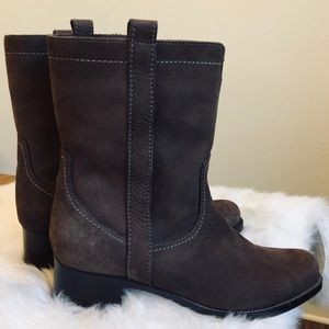 La Canadienne Suede Leather Riding Calf Heel Boots